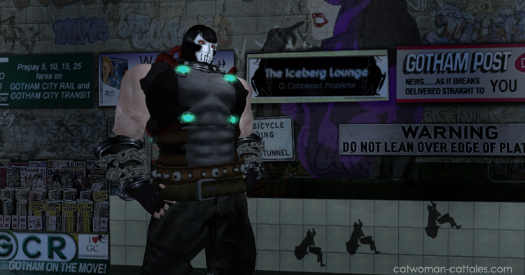 Bane in the Gotham Subway station, upstaged by the real Gotham again