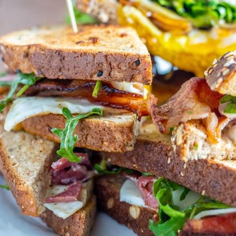 Bacon Balsamic and Arugula Fried Egg Sandwich