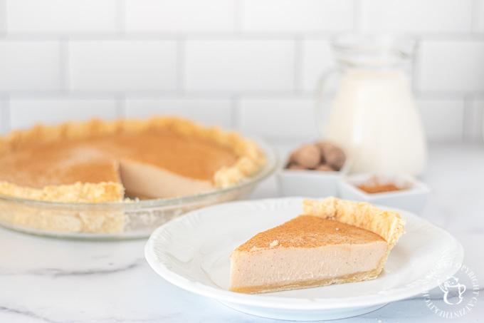 sugar cream pie with nutmeg and vanilla