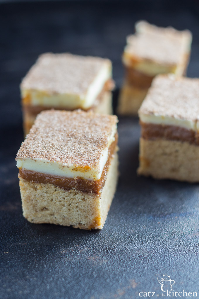 Caramel Snickerdoodle Bars | Catz in the Kitchen | catzinthekitchen.com #snickerdoodle