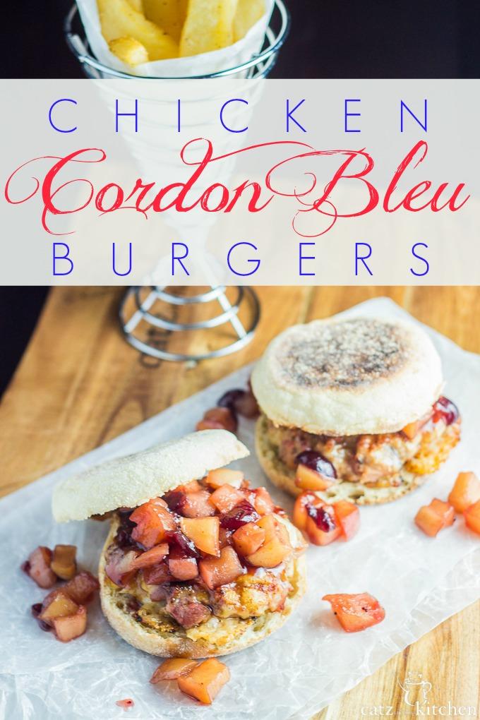 Chicken Cordon Bleu Burgers | Catz in the Kitchen | catzinthekitchen.com #burgers