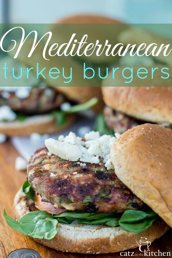 Mediterranean Turkey Burgers   Catz in the Kitchen   catzinthekitchen.com   #burgers