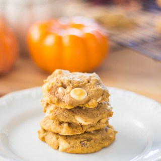 Macadamia Nut White Chip Pumpkin Cookies | Catz in the Kitchen | catzinthekitchen.com | #fall #cookies #pumpkin