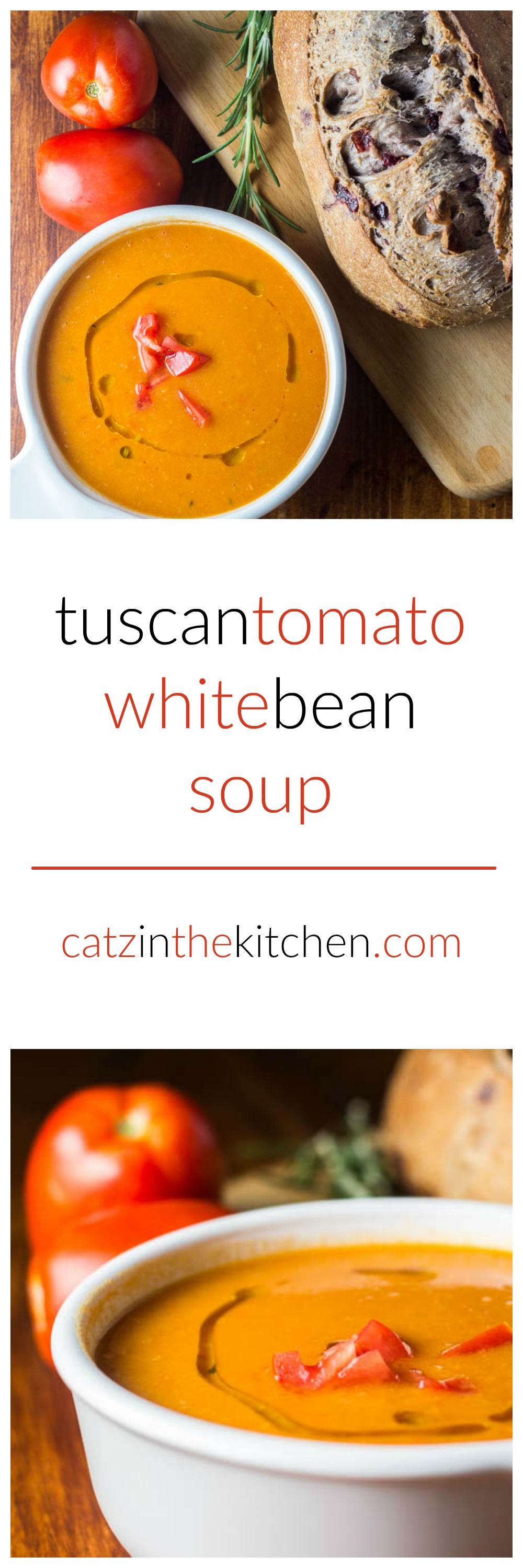 Tuscan Tomato White Bean Soup | Catz in the Kitchen | catzinthekitchen.com | #tomato #tuscan #soup