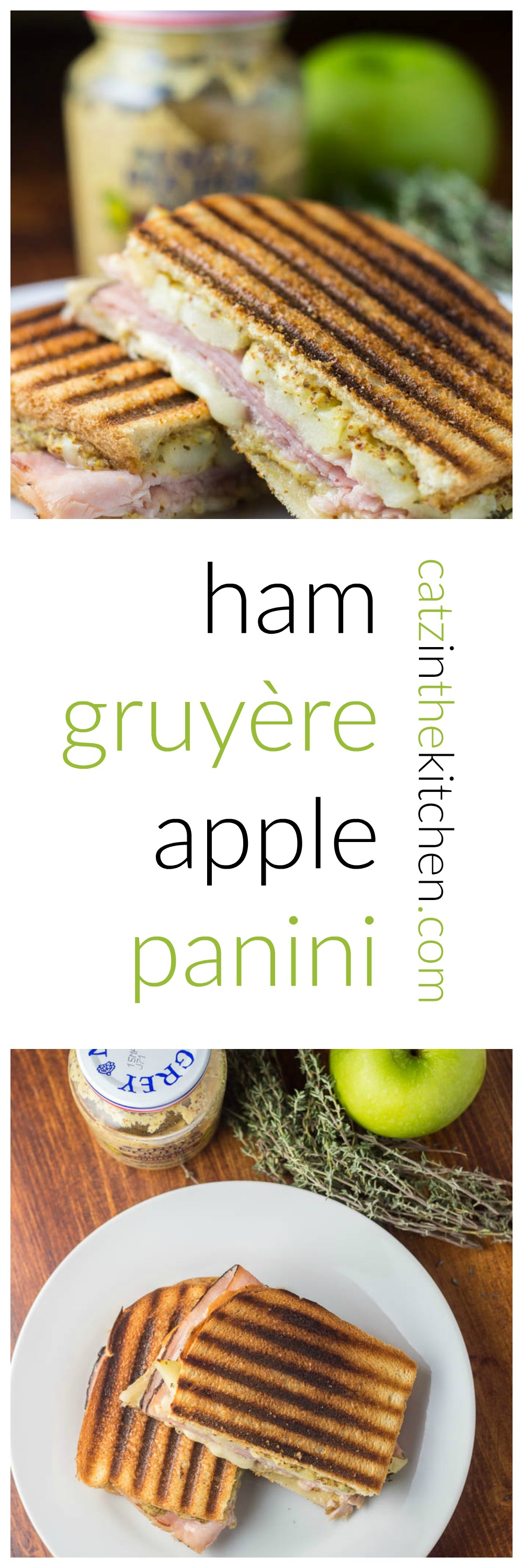 Ham, Gruyère, & Apple Panini | Catz in the Kitchen | catzinthekitchen.com | #sandwich #panini #Gruyère