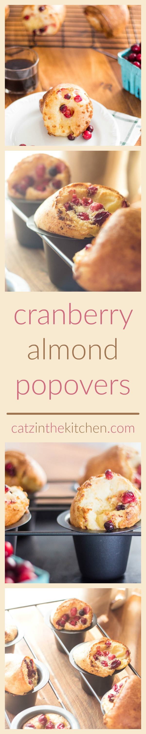 Cranberry Almond Popovers | Catz in the Kitchen | catzinthekitchen.com | #cranberry #almond #baking