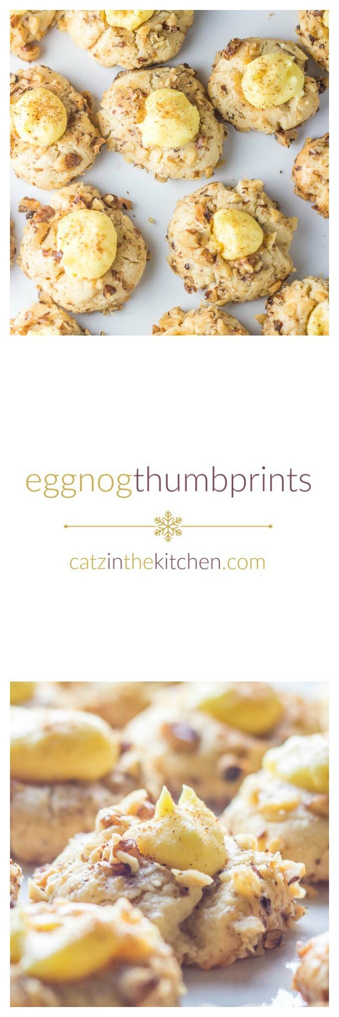 Eggnog Thumbprints | Catz in the Kitchen | catzinthekitchen.com | #cookies #eggnog #Christmas