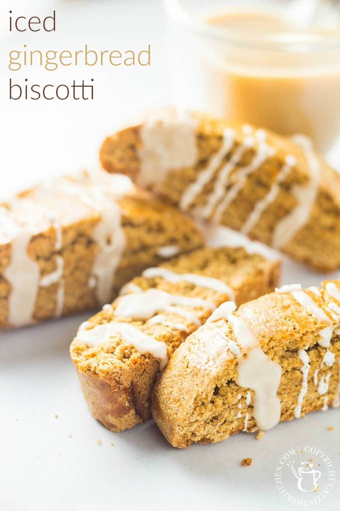 Iced Gingerbread Biscotti | Catz in the Kitchen | catzinthekitchen.com | #gingerbread #biscotti #icing