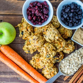 Carrots, apples, oats, blueberries, cranberries, walnuts, cinnamon and a bit of brown sugar make these healthy cookies amazing & safe to for indulging!