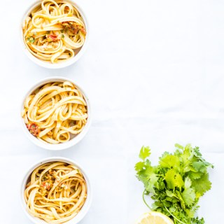 Simple linguine with lemon & sun-dried tomatoes along with olives, fresh basil, & garlic. Oh, and a little cheese & olive oil because...that's a must!
