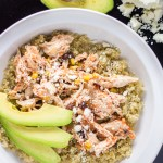 This recipe for a Simple & Healthy Chicken Fiesta Quinoa Bowl is quick, easy, and comes together in the slow cooker! You can't beat that. Add a little avocado and queso fresco and you've got a tasty dinner.