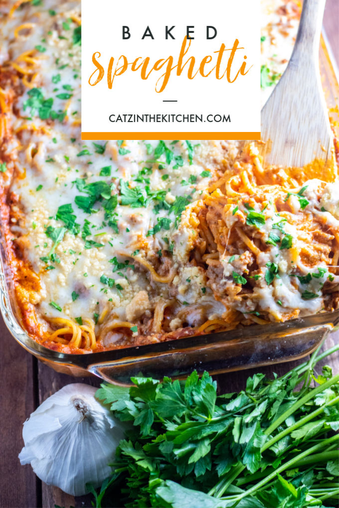 This easy recipe for a quick baked spaghetti is perfect for a family meal at home, or better yet, bringing a meal to someone who needs one!