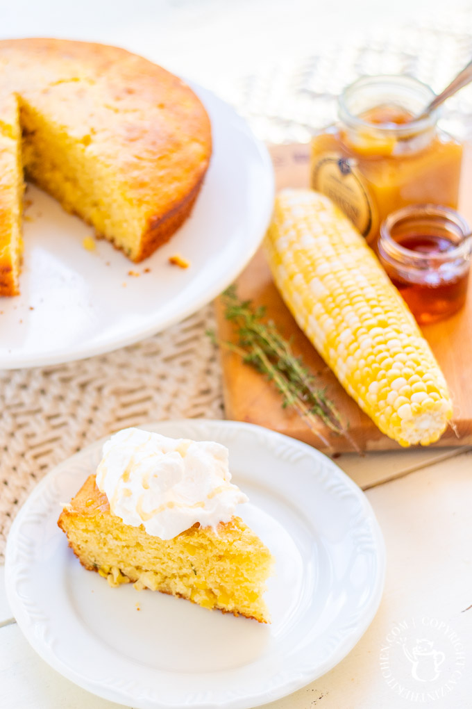 This recipe for sweet corn & thyme cornbread cake is simple, perfect for fall, & rather unexpected...because it's a dessert, topped with lemon curd & honey!