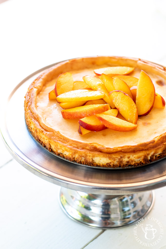 cheesecake with peaches and a ginger crust