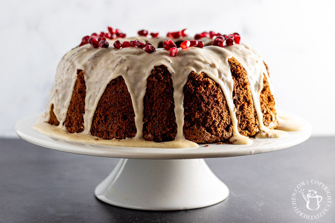 Cocoa Chiffon Cake made in a bundt pan