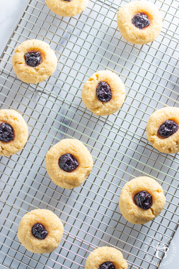 Thumbprint Cookies on a cooling rack