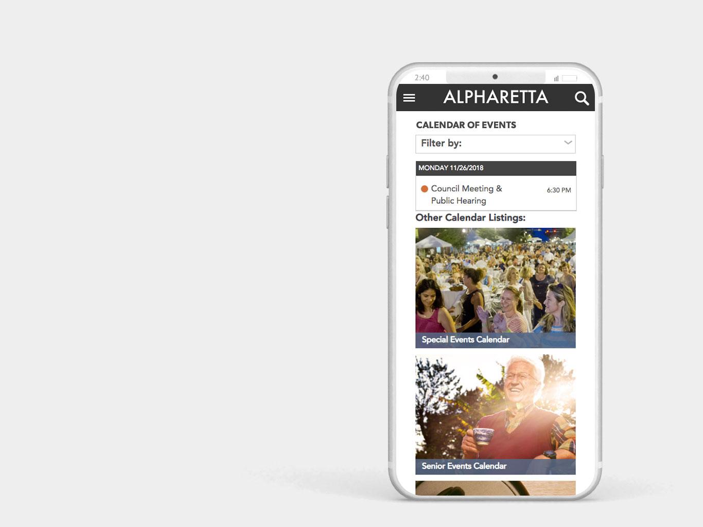 City of Alpharetta Mobile Website Design