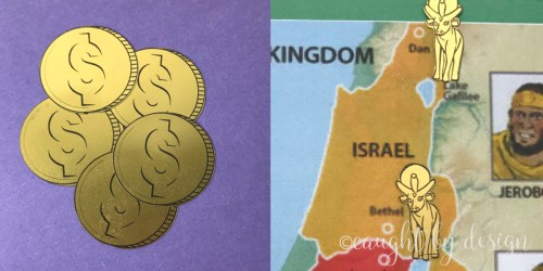 Gold coin & golden calf stickers made with printable gold foil