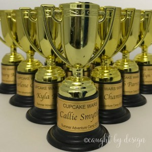Trophies labeled with printable gold foil