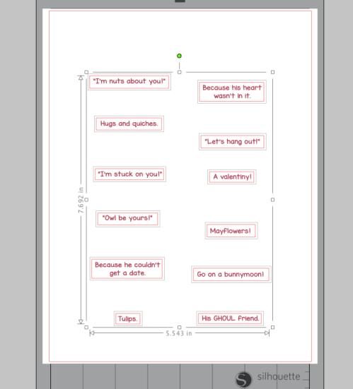 Screenshot from Silhouette Studio for Print & Cut Scratch-Off Valentines