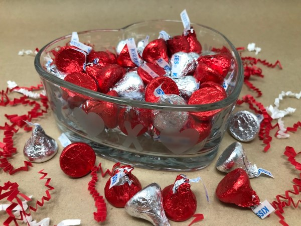 Valentine Etched Glass Candy Dish