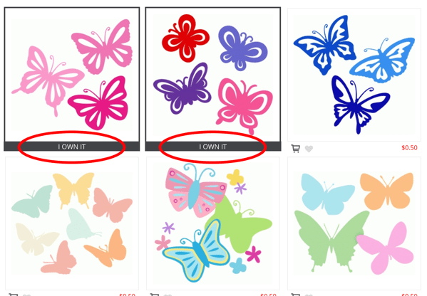 Screenshot of Silhouette Design Store designs already purchased