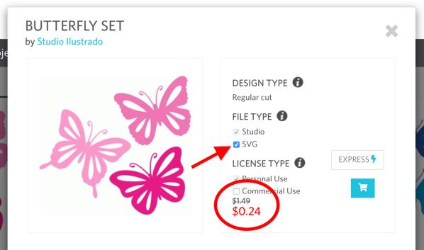 Screenshot of butterflies design in Silhouette Design Store