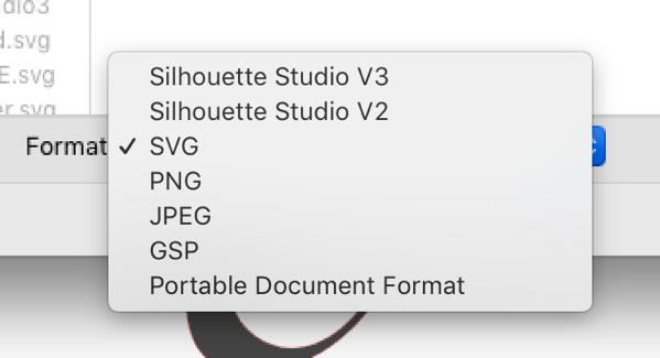 Screenshot of Save as SVG menu in Silhouette Studio