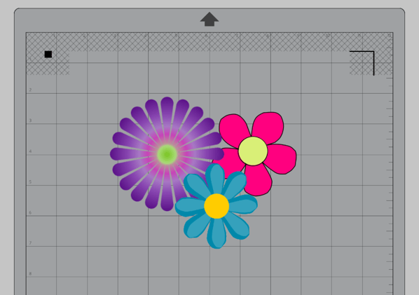 Overlapping clipart images of a purple flower, pink flower, and blue flower