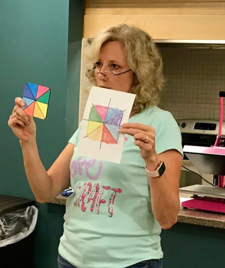 Lycia Evanoff demonstrating sublimation with markers