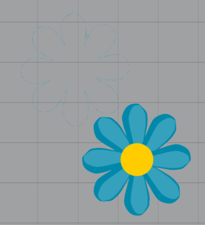Blue flower clipart and detached outline