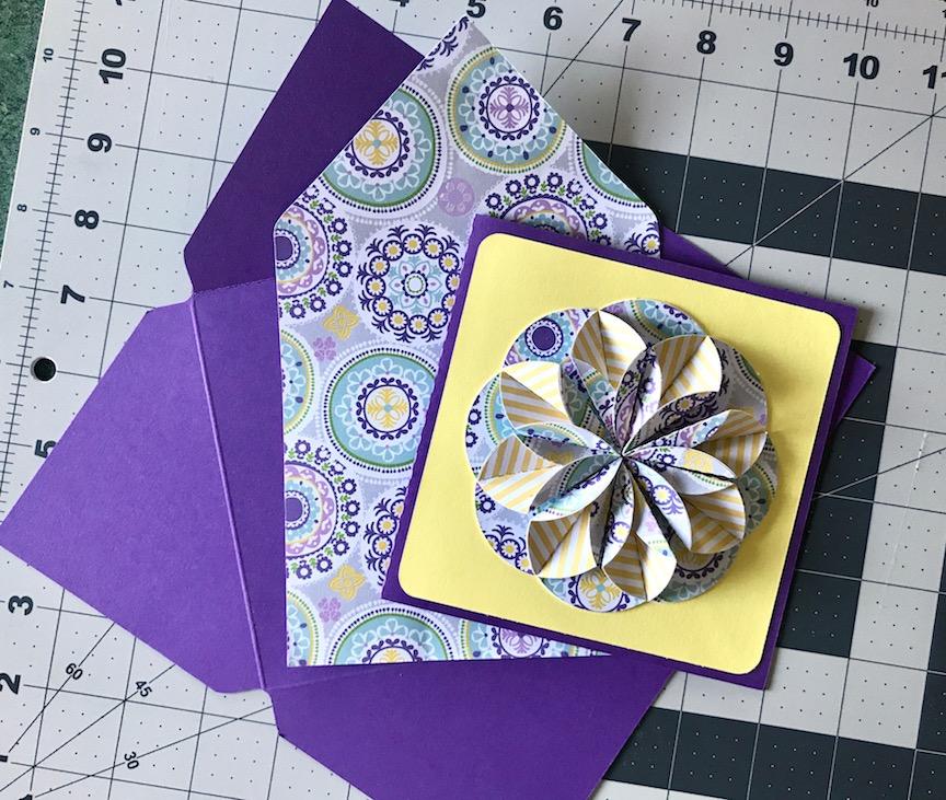 Envelope base, envelope liner, and finished 3D flower card