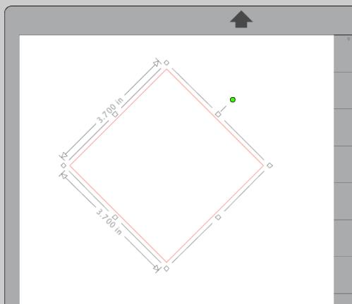 Screenshot of rotated square in Silhouette Studio