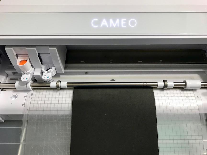 Craft foam loaded into Silhouette Cameo 4