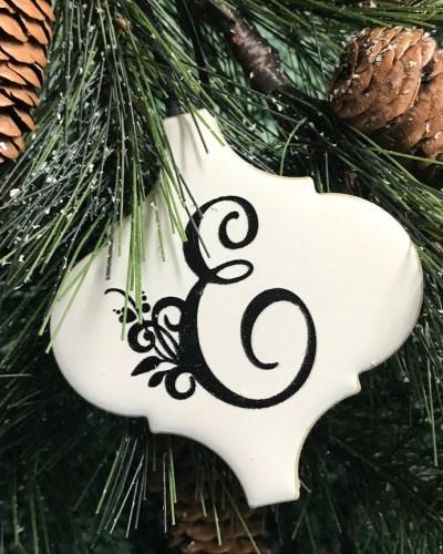 Monogrammed tile Christmas ornament