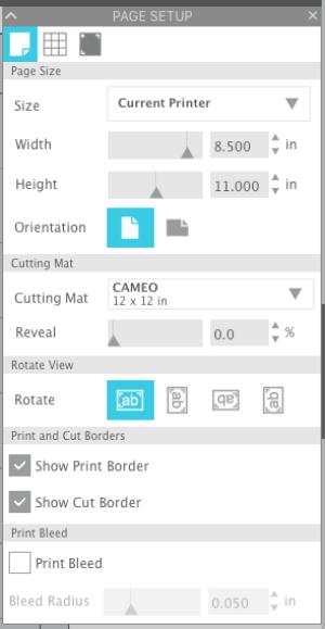Screenshot of Page Setup in Silhouette Studio