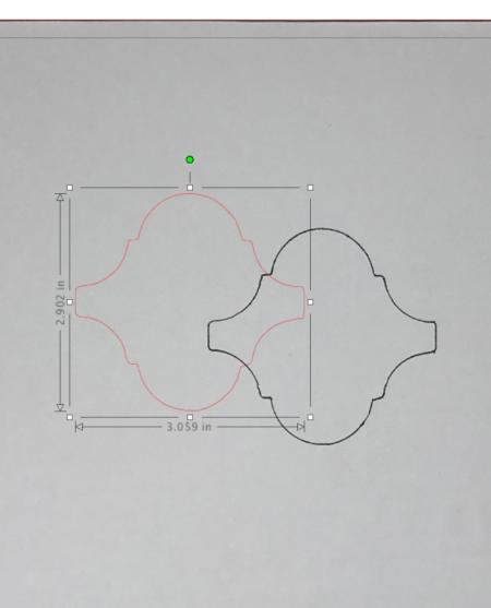 Screenshot of traced cut lines in Silhouette Studio