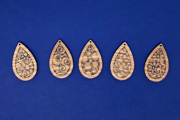 Patterned earrings made on Glowforge