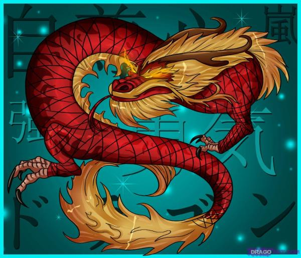 Red Chinese Dragon Drawings