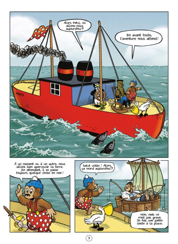 La bande dessinée jeunesse Petzi et le cochon volant, Petzi est sur un bateau.