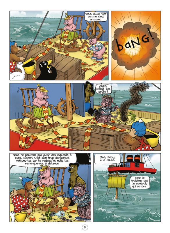 Dans la bande dessinée jeunesse Petzi et le cochon volant, explosion du message de détresse.