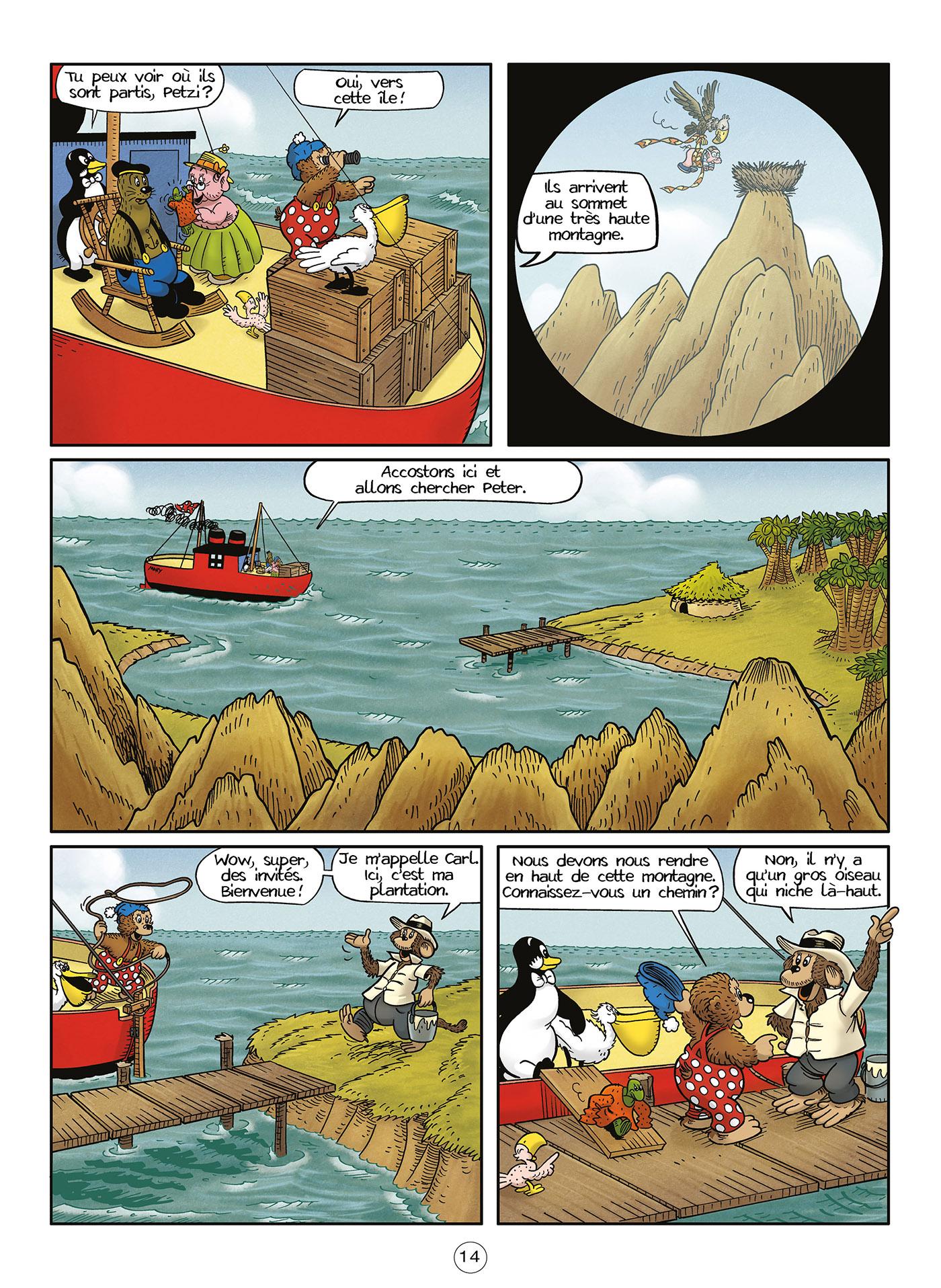 Petzi et ses amis arrivent sur une île.