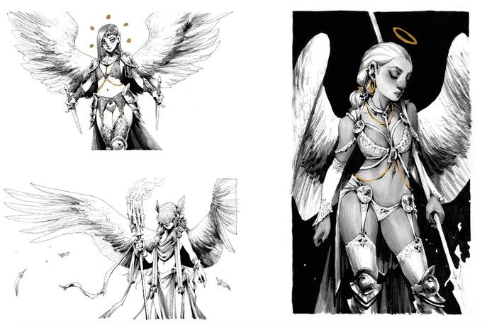 Extrait de l'artbook Aphos d'Andrew Mar : dessins de femmes anges.