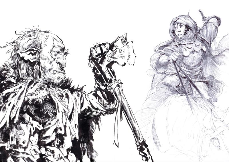 Croquis de personnages style médiéval, issus du sketchbook Decade d'Even Mehl Amundsen.