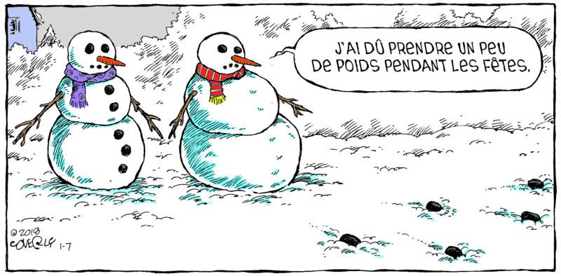 Speed Bump de Dave Coverly, un excellent cadeau pour papa (fête des pères). Humour d'hiver avec les bonhommes de neige.