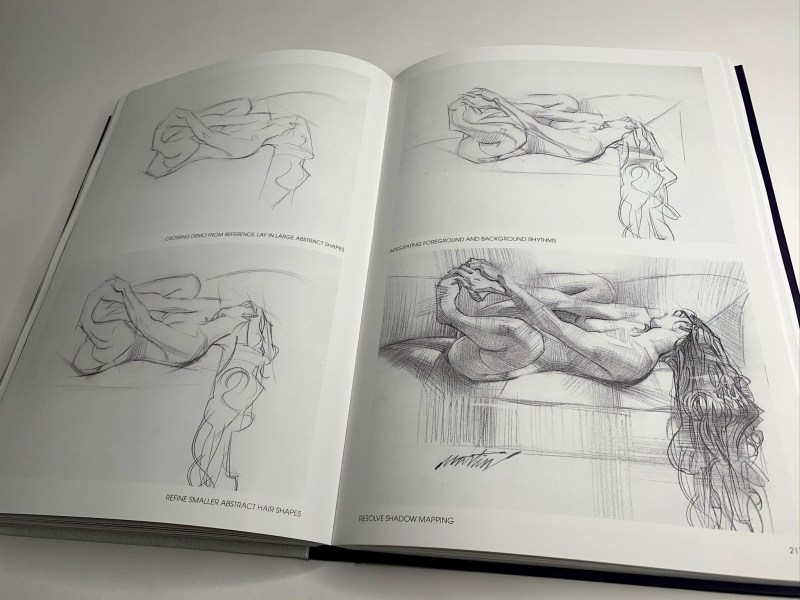 Muse : exploration of the female form par James Martin. Les étapes d'un croquis, dessin d'une femme sur son canapé.