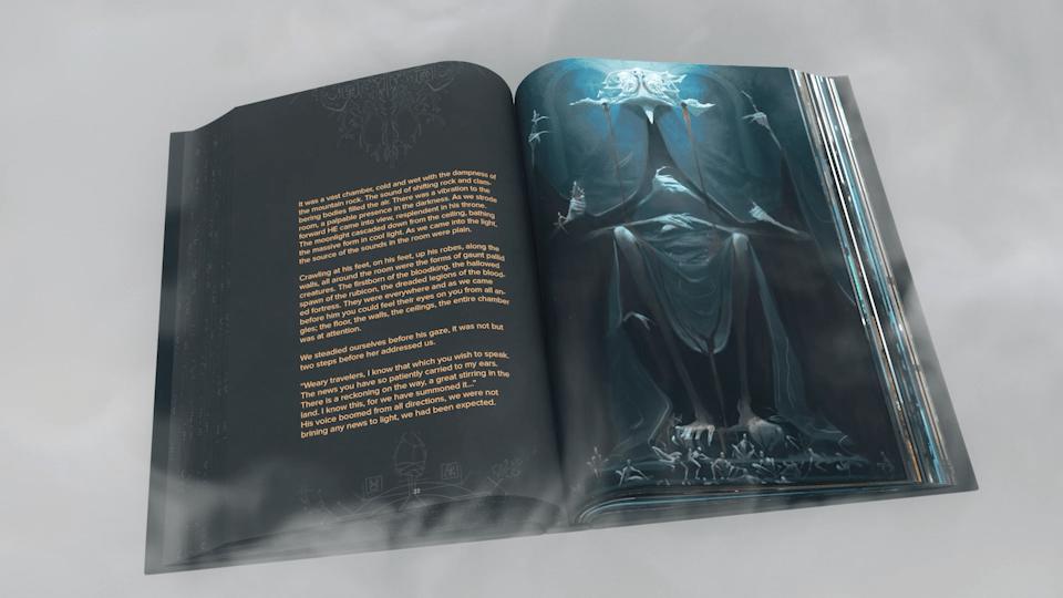 Intérieur de l'artbook Obliskura d'Alex Konstad : rencontre avec less voyageurs.