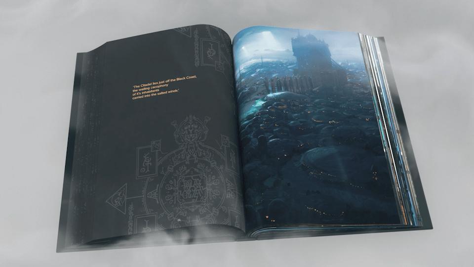 Intérieur de l'artbook Obliskura d'Alex Konstad : la citadelle noire.