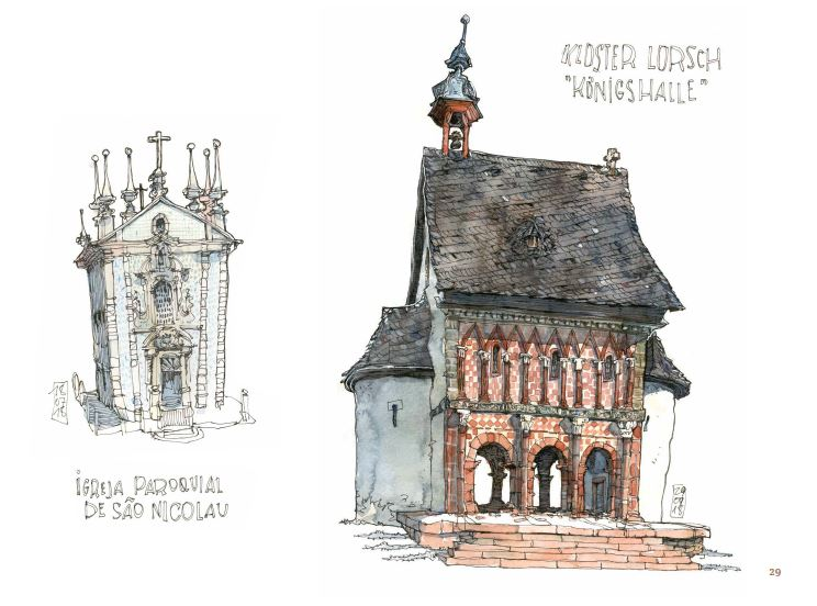 Ce qui reste du voyage de Jorg Asselborn, dessins de Igreja Paroquial de Sao Nicolau et loster Lorsch.