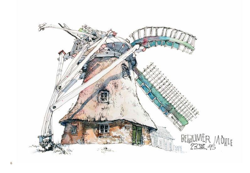 Ce qui reste du voyage de Jorg Asselborn, dessin d'un ancien moulin.